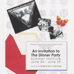 Off white page with featuring black and white Dinner Party images, a red envelope, and an orange butterfuly. There is a square that contains the text of the invitation in the lower right-hand corner.