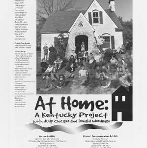 Black and white poster featuring textual list of particpants, an image of the front of the At Home House with partcipants, and the At Home logo.