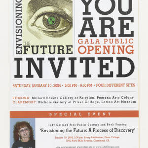 Poster on white paper with black and orange text. Includes an image of Judy Chicago and the Envisioning the Future logo featuring a green eyeball.