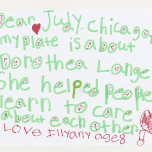 Children's drawing on white paper. Features texual thank you message written in green with red accents.