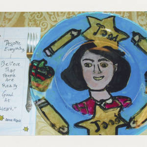 Color image of student artwork. Images focuses on ceramic dinner plate made for Anne Frank. It is blue with a painted depiction of Anne Frank in the middle surrounded by yellow pencils and yellow Stars of David.