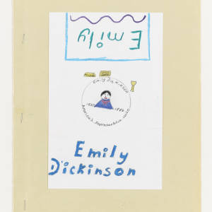Children's drawing features a drawing of Emily Dickinson in a blue shirt and red scarf. Emily Dickinson is written in blue bubble letters below. Above Emily is written in a dark teal within a blue square, and underlined with a purple squiggle.